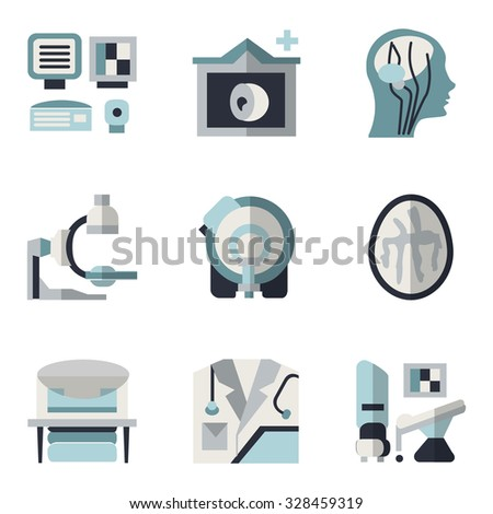Simple blue and black color flat style icons for medical research. MRI, CT scan, MRI equipment, brain imaging and other elements for your website - stock photo