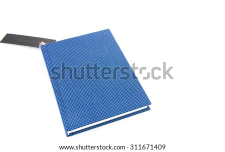 simple blue book isolated on white background - stock photo