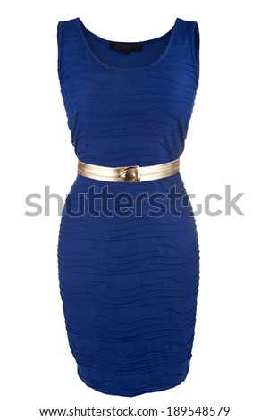 Simple blue dress with golden belt, isolated on white - stock photo