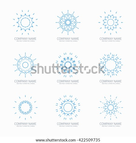 Simple blue geometric abstract symmetric shapes set. Modern business icon collection. Logo template. Hexagon round ornament. Symbols, emblems, element and logotypes. - stock photo
