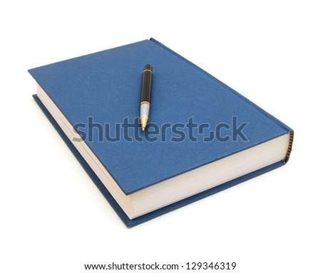 simple blue hardcover book and pen isolated on white background - stock photo