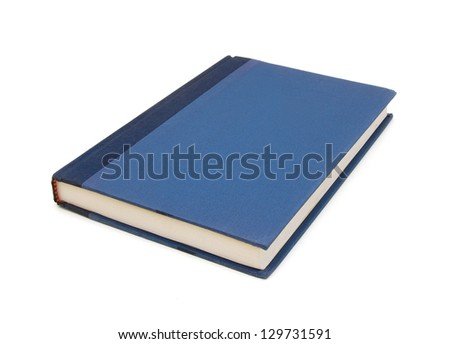 simple blue hardcover book isolated on white background - stock photo