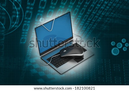 Simple blue laptop with mouse