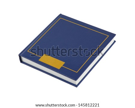 Simple blue square book isolated on white background - stock photo