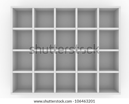 Simple box for mailing letters with twenty-four cells isolated on white