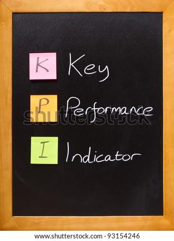 Simple business message on a blackboard, KPI - stock photo