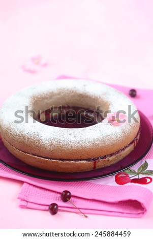 Simple Cake filled with Cherry Jam powdered with icing sugar on a plate and bright pink napkin. - stock photo