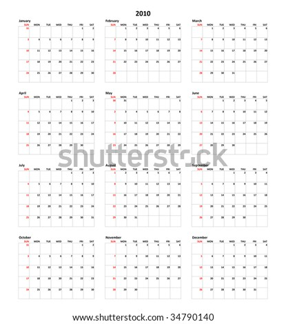 Simple Calendar for year 2010
