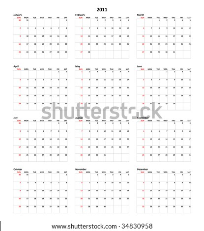 Simple Calendar for year 2011