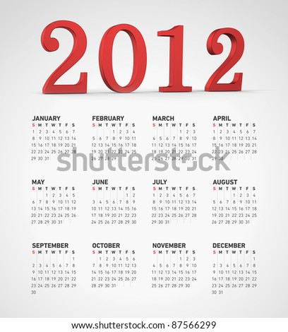 Simple 2012 calendar with 2012 written in 3d letters. Weeks starts on sunday. - stock photo