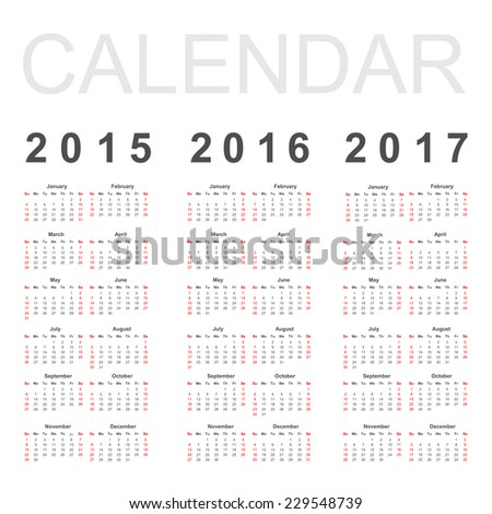 Simple Calendar year 2015, 2016, 2017 - stock photo