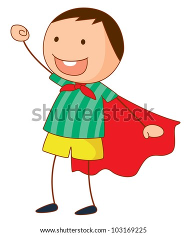 Simple cartoon of a cute boy - EPS VECTOR format also available in my portfolio. - stock photo
