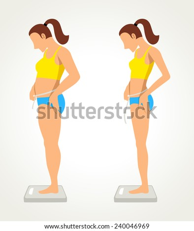 Simple cartoon of a fat and slim woman figure, before and after diet concept - stock photo