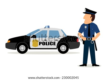Simple cartoon of a policeman and police car, raster version - stock photo