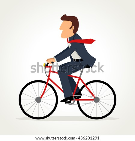 Simple cartoon of businessman riding a bicycle, raster version - stock photo