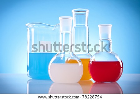 Simple Chemistry! Laboratory Glassware and colorful fluids!
