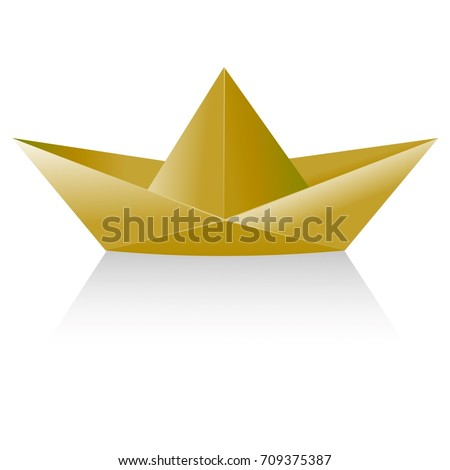 Simple Childs Yellow Or Brown Paper Boat Folded Using Origami 3d Illustration