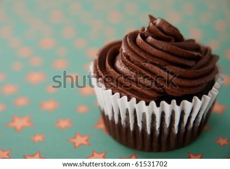 Simple Chocolate Cupcake - stock photo