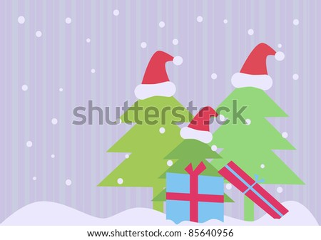 Simple christmas background with trees and gifts - stock photo