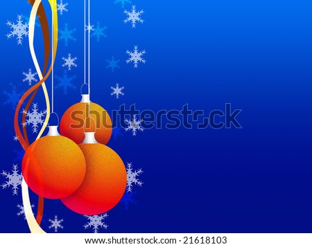 Simple christmas decoration  with baubles on a  red background.