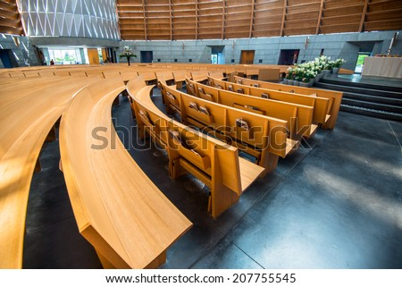 simple church interior - stock photo