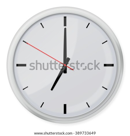 Simple classic round wall clock with shadows isolated on white background.