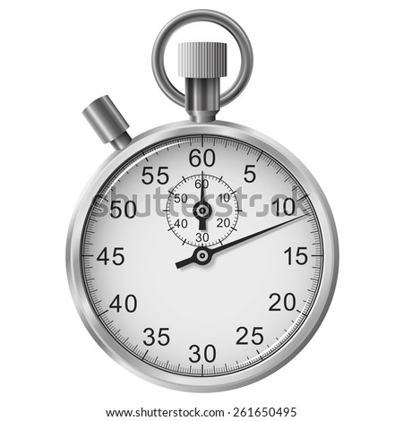 Simple classic stop watch isolated on white background - stock photo