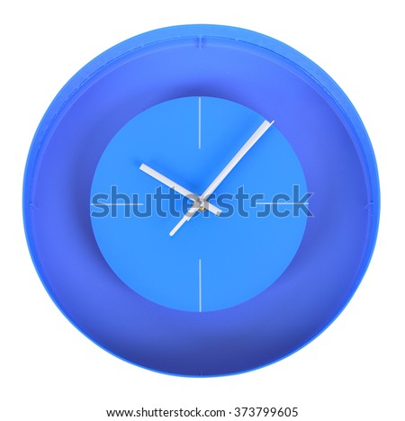 Simple classic white and blue round wall clock isolated on white - stock photo