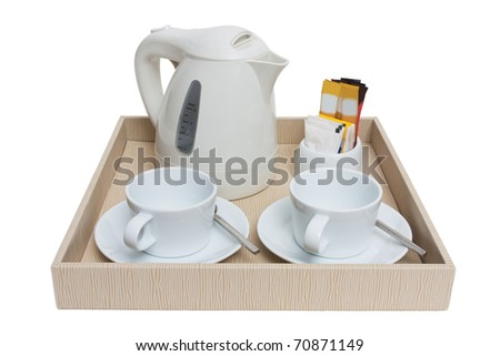 simple coffee set isolated white - stock photo