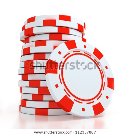 Simple Colored Casino chips on white background - stock photo