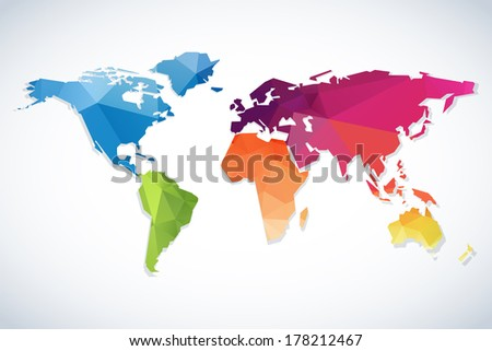 Simple continental world map modern triangle stock illustration simple continental world map with modern triangle pattern on white background gumiabroncs Gallery