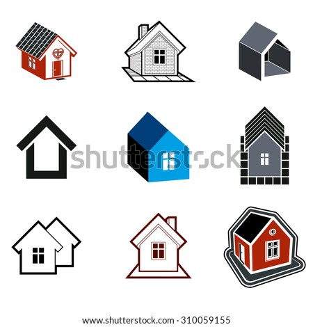 Simple cottages collection, real estate and construction theme. Houses  illustration with heart symbol