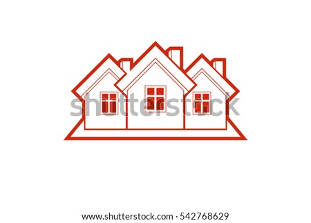 Simple cottages illustration, country houses, for use in graphic design. Real estate concept, region or district theme. Building company abstract image.
