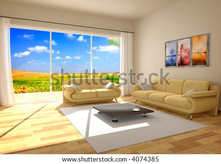 simple countryside interior render - stock photo