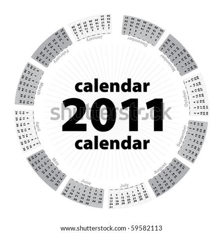 Simple creative calendar of 2011 - stock photo
