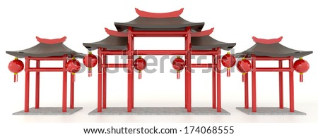 Simple 3D Chinese pavilion gate in white background - stock photo