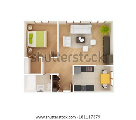 Simple 3D floor plan of a house top view  1 Bedroom 1 Bath  May. Household Kitchen Appliances Home Electronics Boxes Stock