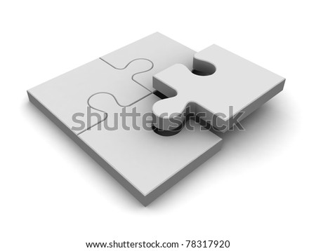 Simple 3d puzzle isolated on white - stock photo
