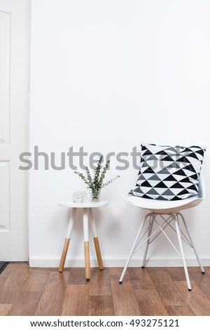 simple decor objects, minimalist white interior
