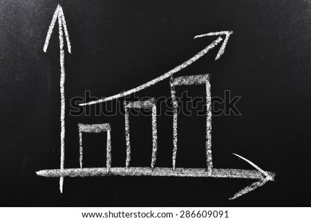 Simple diagram showing succes handdrawn on a black chalkboard - stock photo