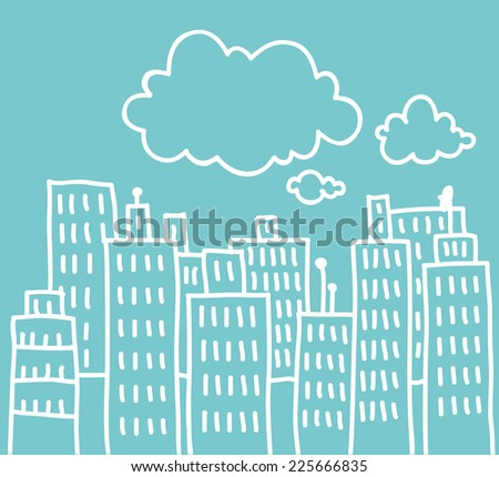 Simple doodle of a big city with clouds above - stock photo
