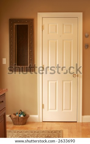 simple door with natural light - stock photo