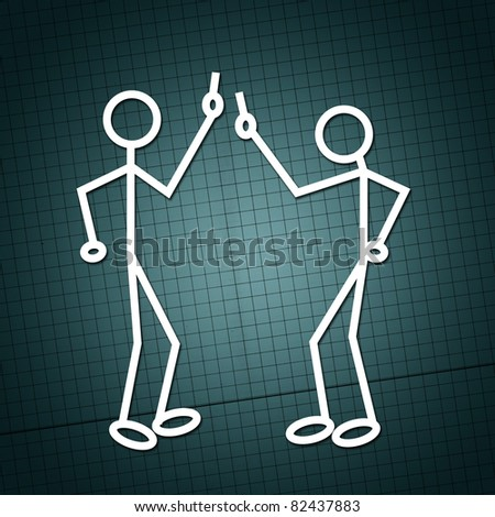 Simple drawing of two humanoid figures having an argue over a paper texture - stock photo