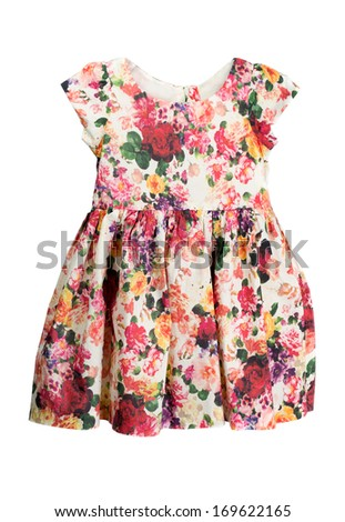 Simple dress with a floral pattern. Isolate on white. - stock photo