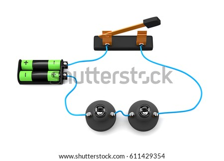 Simple Electric Circuit Series Connection On Stock Illustration ...