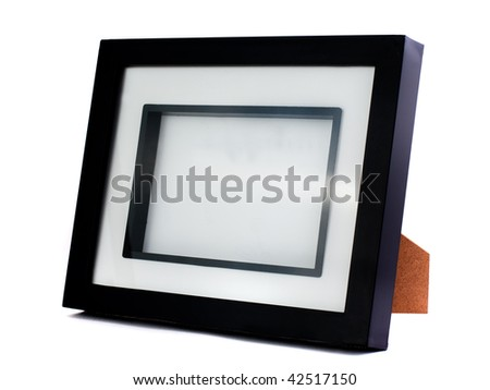 Simple empty and black photo frame. Isolated on white - stock photo