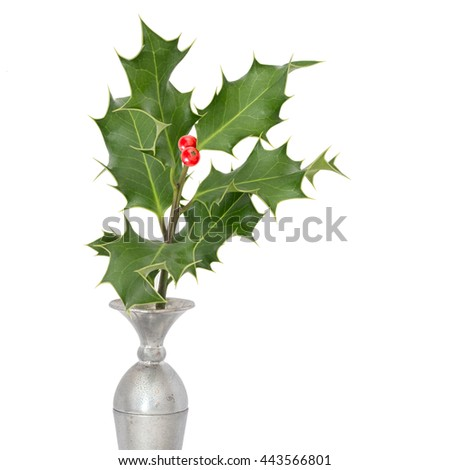 Simple festive decoration. Sprig of green holly in silver vase, with red berries. Isolated on white background. Traditional Christmas ornament, seasonal. - stock photo