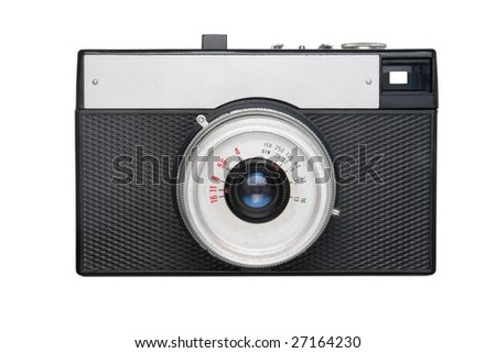 Simple film camera isolated on white - stock photo