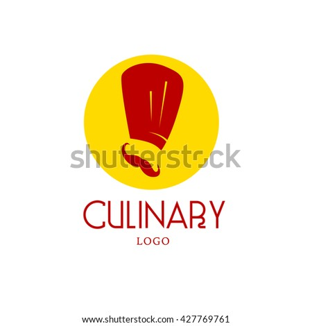 Simple flat food logo. Restaurant, cafe, catering insignia. Food icon. Chef in hat icon isolated on white background. - stock photo