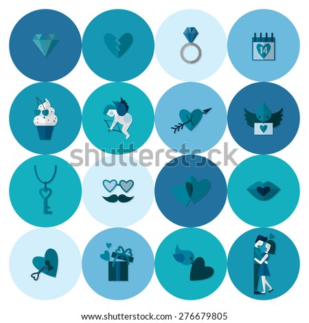 Simple Flat Icons Collection for Valentines Day, Wedding, Love and Romantic Events.  - stock photo